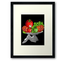 SOME BUNNY IS SERVING  SOME LETTUCE & TOMATOES--VEGETARIAN VARIOUS APPAREL Framed Print