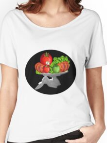 SOME BUNNY IS SERVING  SOME LETTUCE & TOMATOES--VEGETARIAN VARIOUS APPAREL Women's Relaxed Fit T-Shirt
