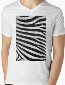 Zebra Style Mens V-Neck T-Shirt