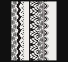 Tribal Ethnic Bands Black and White Aztec One Piece - Long Sleeve