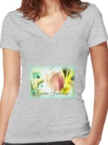 Easter Greetings Women's Fitted V-Neck T-Shirt