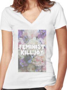 Floral Feminist Killjoy Women's Fitted V-Neck T-Shirt
