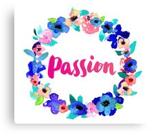Passion Watercolor Brush Lettering Flowers Floral Wreath Canvas Print