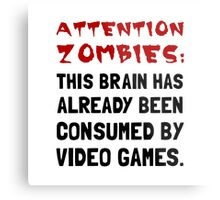 Attention Zombies Video Games Metal Print