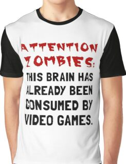 Attention Zombies Video Games Graphic T-Shirt