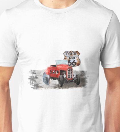 Race car in America higway rustic designer. Unisex T-Shirt