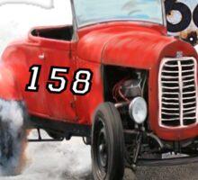 Race car in America higway rustic designer. Sticker