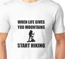Mountains Start Hiking Unisex T-Shirt