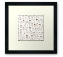 Vintage brown white cute funny little owl pattern Framed Print