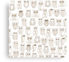 Vintage brown white cute funny little owl pattern Canvas Print