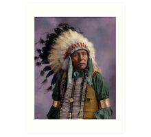 Colorized American Indian Chief  Art Print