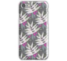 Vintage neon pink white abstract leaves pattern iPhone Case/Skin