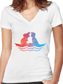 Boat Ride Kiss Women's Fitted V-Neck T-Shirt