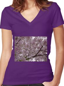 Cherry Tree Women's Fitted V-Neck T-Shirt