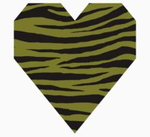 0308 Heart Gold or Olive Tiger Kids Tee
