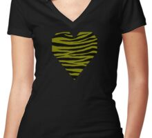 0308 Heart Gold or Olive Tiger Women's Fitted V-Neck T-Shirt
