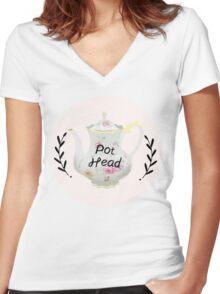 Tea Pot Head Women's Fitted V-Neck T-Shirt