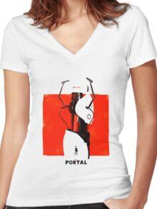 Portal Gun Women's Fitted V-Neck T-Shirt