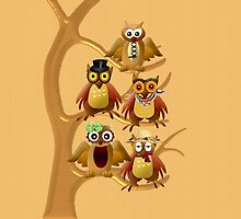 Funny owl family by harietteh