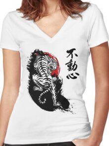 Japanese Tiger with Fudoshin Kanji Women's Fitted V-Neck T-Shirt