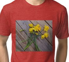 Daffodil Bouquet on Wooden Planks Tri-blend T-Shirt
