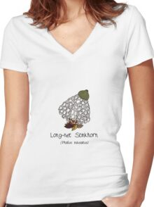 Long-net Stinkhorn (without smiley face) Women's Fitted V-Neck T-Shirt