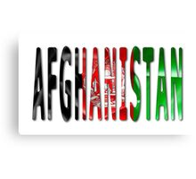 Afghanistan Word With Flag Texture Canvas Print