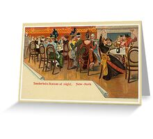 Vintage New York Restaurant party, Tenderloin Scene at night Greeting Card