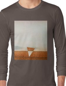 Minimalist collage desert landscape with inverted triangle Long Sleeve T-Shirt