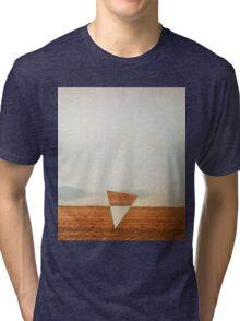 Minimalist collage desert landscape with inverted triangle Tri-blend T-Shirt