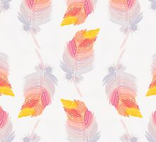 Watercolor Feather Pattern by Tess Johnson