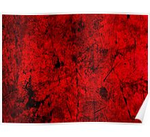 Cool, unique modern red grunge abstract painting art design Poster