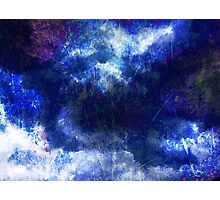 Cool, unique modern abstract blu clouds digital art design Photographic Print