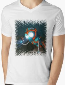 The Robot and Butterfly Mens V-Neck T-Shirt