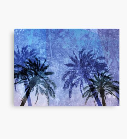 Cool, unique modern abstract blue palm tree digital art design Canvas Print