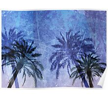 Cool, unique modern abstract blue palm tree digital art design Poster