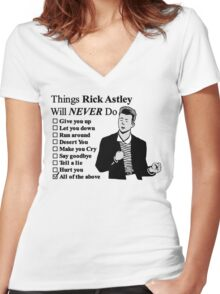 Rick Astley Women's Fitted V-Neck T-Shirt
