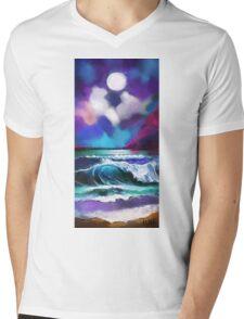Moonscape Mens V-Neck T-Shirt