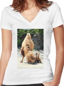 Camel Mom + Baby Women's Fitted V-Neck T-Shirt