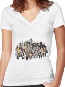 Game of Burgers - All Characters Women's Fitted V-Neck T-Shirt