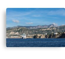 Cruising the Med - Cruise Ship, Imposing Cliff, and Calm Blue Mediterranean Water at Sorrento, Italy Canvas Print