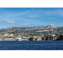 Cruising the Med - Cruise Ship, Imposing Cliff, and Calm Blue Mediterranean Water at Sorrento, Italy Photographic Print
