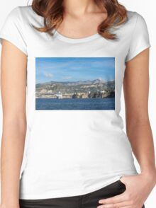 Cruising the Med - Cruise Ship, Imposing Cliff, and Calm Blue Mediterranean Water at Sorrento, Italy Women's Fitted Scoop T-Shirt