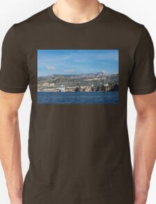 Cruising the Med - Cruise Ship, Imposing Cliff, and Calm Blue Mediterranean Water at Sorrento, Italy T-Shirt