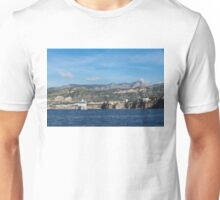 Cruising the Med - Cruise Ship, Imposing Cliff, and Calm Blue Mediterranean Water at Sorrento, Italy Unisex T-Shirt
