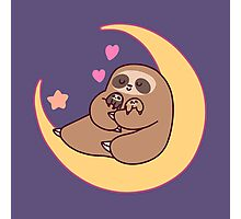 Moon Mama and Baby Sloths Photographic Print