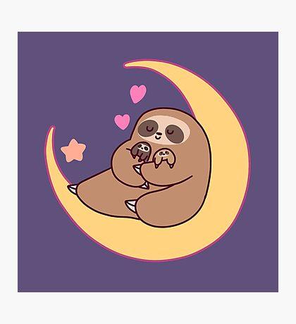 Moon Mama and Baby Sloths Photographic Print
