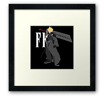 Cloud Strife Vector/Minimalist (Advent Children, White Logo) Framed Print