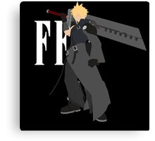 Cloud Strife Vector/Minimalist (Advent Children, White Logo) Canvas Print