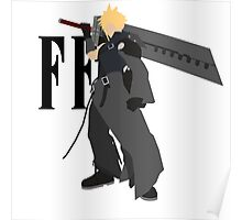 Cloud Strife Vector/Minimalist (Advent Children, Black Logo) Poster